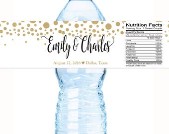 Wedding Water Bottle Labels - 30 Wedding Water Labels - Custom Water Bottle Labels - Gold Dots Wedding Favors - 30 Waterproof Bottle Labels