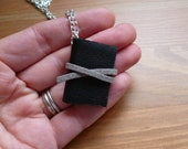 Book necklace, black leather, mini book, miniature book, upcycled, leather, book lover, book jewellery