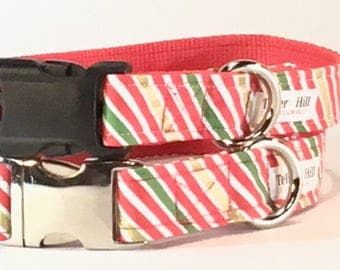 Christmas candy stripe dog collars on sale - Red and Gold Striped dog collar - new puppy gift - Christmas dog collar boy - Christmas collar