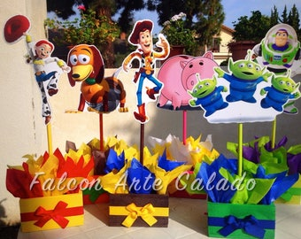 Toy Story Birthday Centerpiece Toy Story Party Buzz Lightyear Woody and Jessie Wood Table centerpiece on base for birthday PRICE PER PIECE
