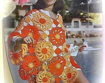 """Vintage 1970s Crochet Pattern Copy For A Lady's """"Sunflower"""" Poncho, Great For Beachwear"""