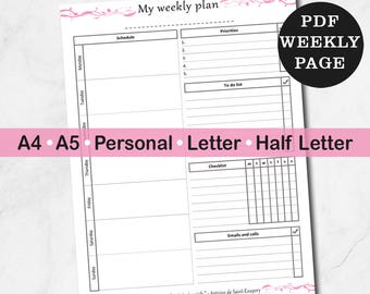 Printable weekly planner inserts, one page to do list planner, week planner, printable week at a glance