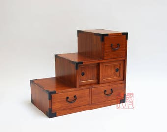 kiri wood double sided step chest, Japanese style kaidan dansu.