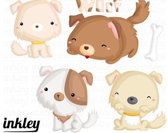 50%OFF!! Cute Puppies Clipart - Cute Clipart, Puppies Clipart, Fun Clipart, Clipart Set, Adorable Digital Clip Art