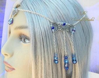 Silver Moon Pagan Headdress, Triple Moon Goddess Headpiece, Crescent Moon Circlet, Wicca Headdress, Blue Moon, Handfasting, Wedding, Bride
