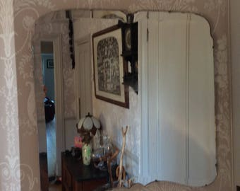 Vintage 1930-40s Large Bevelled Edge Art Deco Mirror