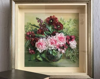 Beautiful needlework, an embroidered picture, a picture on the wall, flowers from silk, an original gift, an interior decoration.