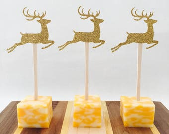 15 Reindeer Appetizer Picks - Food Picks - Gold Glitter - Christmas Party - Holiday - Party Decorations