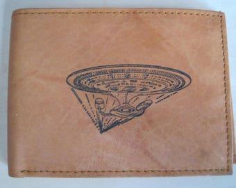 "Mankind Wallets Men's Leather RFID Blocking Billfold w/ ""Star Trek-The Next Generation U.S.S. Enterprise"" Image~Makes a Great Gift!"
