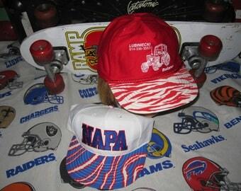 2 vtg Tiger Striped Snapback Hats - zubaz nascar 1980s