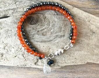 Carnelian and Hematite Light Silver Bracelet,Beaded Bracelet,Boho Bracelet, Delicate Gemstone Bracelet ,Stocking Stuffer,Gifts for mom