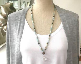Amazonite Mala Beads Necklace / Smaller Meditation Amazonite  108 Mala Beads Necklace/Knotted Buddhist Necklace/ Amazonite Japa Mala