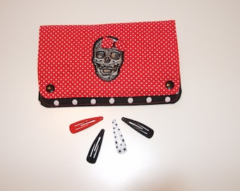 Dress handkerchief with skull and red and black polka dot bow hair clips