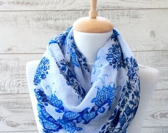 Blue and white flowers print scarf infinity scarf women shawl gift ideas for her fashion accessories scarves infinity scarf