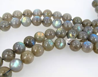 Labradorite round beads, 12mm blue flash loose beads, High quality, Natural  Labradorite beads. 10 beads