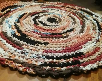 Crocheted Round Rag Rug Multicolors CP113