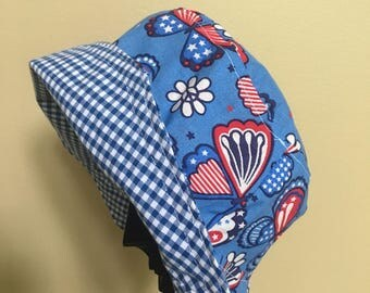 Handmade reversible womans hat, brimmed bucket hat, size medium hat, patriotic hat, Mothers Day or birthday gift for teen
