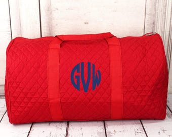 "21"" Quilted Duffle Bag in Burgundy or Red/  Duffle Bag Quilted/ Embroidered Duffle Bag/ Personalized Duffle Bag"