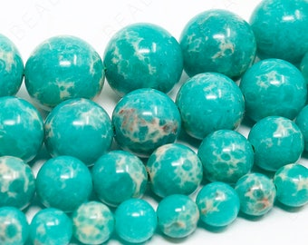 "Green Imperial Beads Natural Sea Sediment Jasper Gemstone Round - 6mm 8mm 10mm 12mm - 15.5"" Strand"