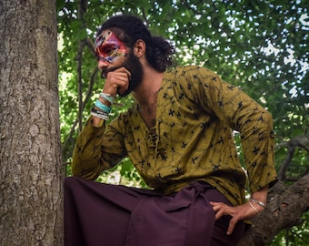Shipibo shirt, Green long sleeves shirt, V collar men shirts, Sacred Geometry, Ayahuasca clothes, Psychedelic Clothes, Entheogen clothes