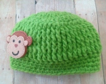 Monkey Baby Hat, Baby Boy Hat, Fit 4 months old, Baby Shower Gift