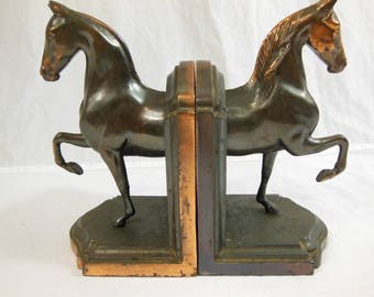 1930s Dodge Inc Horse Bookends - Cast Metal with Copper