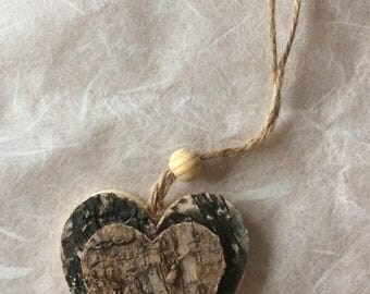 Wooden heart shaped Christmas tree decoration