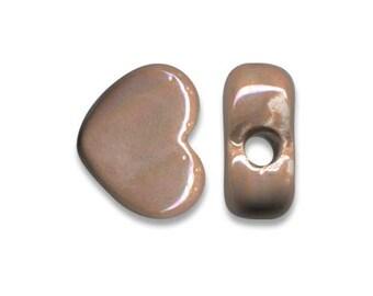 1 heart ceramic Greek 12 x 10 mm brown beige