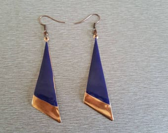 Blue and copper triangle pendant earrings