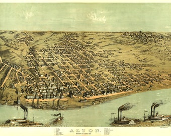Alton IL Panoramic Map dated 1867. This print is a wonderful wall decoration for Den, Office, Man Cave or any wall.