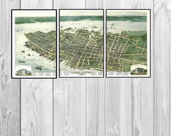 Charleston SC Panoramic Map dated 1872. This print is a wonderful wall decoration for Den, Office, Man Cave or any wall.