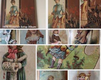 Patented March 1876 Victorian Scrapbook/Victorian Keepsake Album/19th Century Filled Scrapbook/Victorian Emphera/Scrapbook Collectors/Scraps