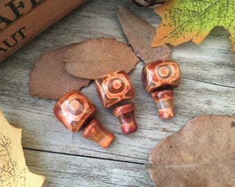 3pcs Tibetan Agate Orange Eye Guru Beads DIY Stone Charms Loose  Beads Supplier For Handcrafts Buddha Necklace Mala Jewelry Findings