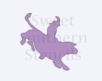 Bull Rider Cookie Stencil