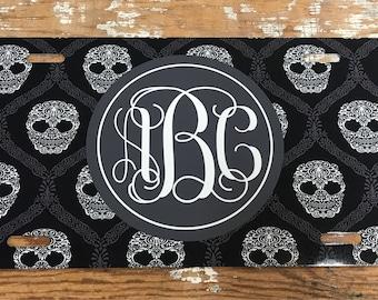 Skull Monogram License plate skull monogram car tag personalized car tag personalized license plate