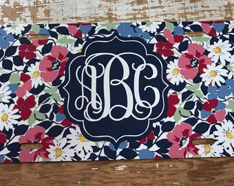Monogram License plate blue floral monogram car tag personalized car tag personalized license plate