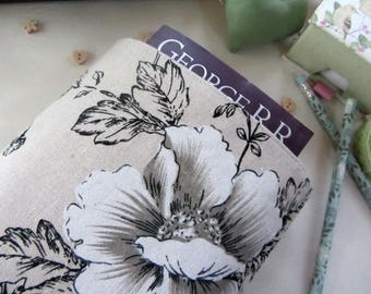 Book Sleeve - Floral Book Cover - Book Protector - Bookworm Gift - Reusable Book Cover - Paperback Cover - Fabric Book Cover