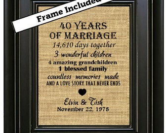 FRAMED Personalized 40th Anniversary Gift/40 years of marriage/40th Wedding Anniversary Gift/40th Anniversary Gift for Parents/Burlap Print