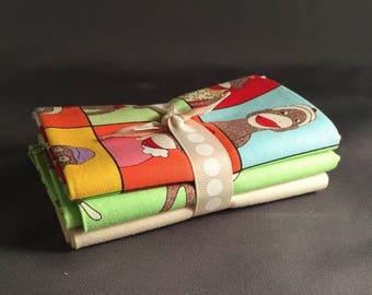 "SUMMER SALE Funky Monkeys Fat Quarter Bundle by Erin Michael for Moda Fabrics ~ 3 Red & Brown Sock Monkey 18""x22"" PreCut Cotton Quilt Pieces"