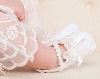 Joli Lace Booties, Christening Booties, Baby Girl Booties - White & Pink