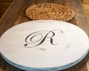 Lazy Susan Wood, Farmhouse style lazy Susan, Housewarming Gift, Turntable server, wooden turntable, farmhouse decor, Rustic Wedding