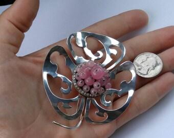 HUGE Nettie Rosenstein Sterling Fur Clip clover / flower pink glass
