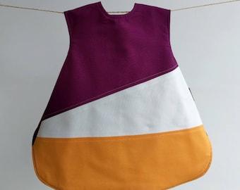 The Vinklar Bib Apron , Plum, purple, orange, white , baby shower gift, baby bib, bib, apron, skagfa