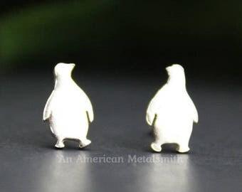 Sterling Silver Penguin Earrings, Penguin Gift, Christmas Earrings, Christmas Jewelry. Penguin Jewelry, Silver Stud Earrings, Bird Earrings