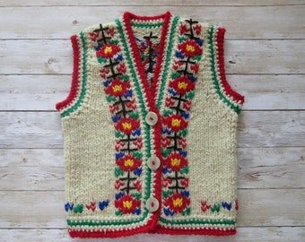 Kids Knitted Vest, Folk Kids Clothing, Kids Sleeveless Cardigan, Toddler vest, Unique Embroidered Vest, Girls Vest,Boys Vest
