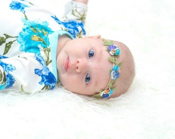 Fairy Blossom Halo In Blue Ombre ~ Baby Girl Nylon Crown ~ Olive Vines ~ Paper Flowers ~ One Size ~ Newborn ~ Toddler ~ Child ~ Photo Prop ~
