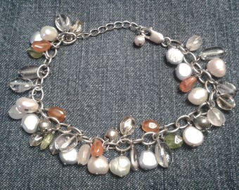 Silver Chain Bracelet with Mixed Gemstones