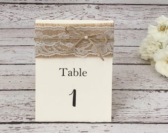Rustic tented table number, lace table number, twine table number, burlap table number, rustic table number, lace burlap table number