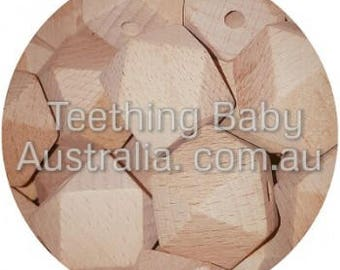12mm BEECH WOOD BEADS - hex geo hexagon -  Natural Eco Wood beads- Organic- Wooden - non toxic - Wholesale
