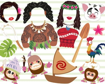 Digital Princess Moana Photo Booth Props, Printable Disney Moana Party PhotoBooth Props, Instant Download Moana Birthday Party Props 0165